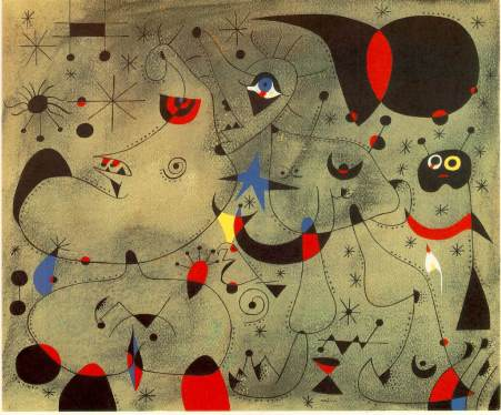 Femme a la blonde aisselle coiffant sa chevelure a la lueur des etoiles from Miro Constellations